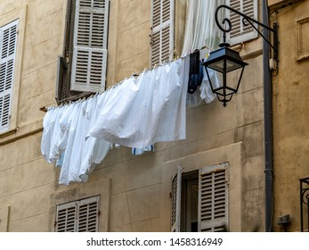 Laundry day in Europe hanging outside the window