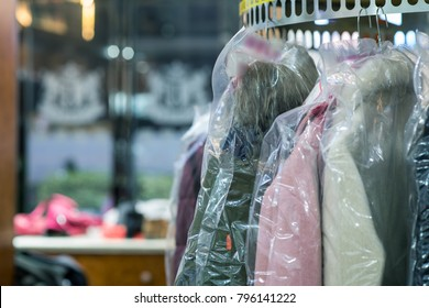 Laundry in the dry cleaner.