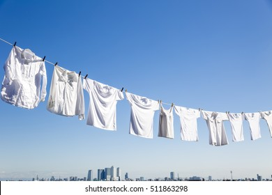 Laundry drying on the roof