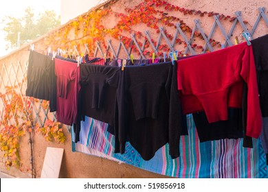 laundry drying outside on a sunny day