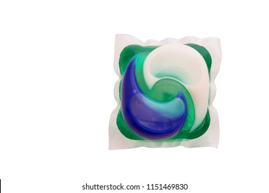 Laundry gel, Washing gel capsule pod for laundry detergent isolated on white background with clipping path.