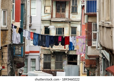 Laundry hanging out of a typical Istanbul facade. Beyoglu district.