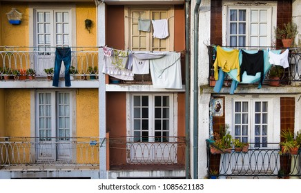 Laundry Hanging Outside on a Balcony in Porto