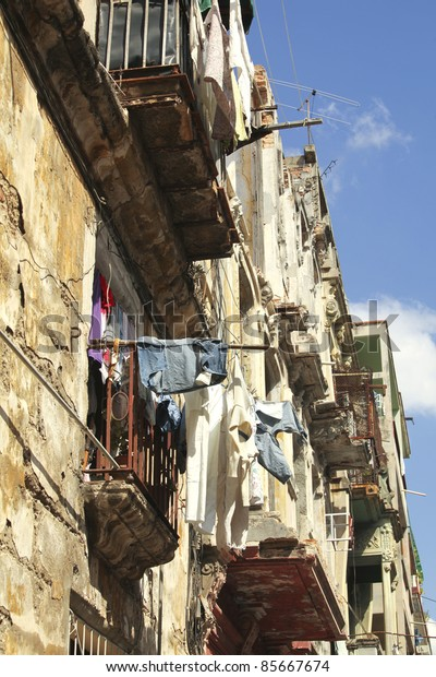 Laundry hangs to dry on the balconies in Havana, Cuba