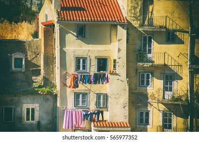 Laundry hung out to dry. Lisbon