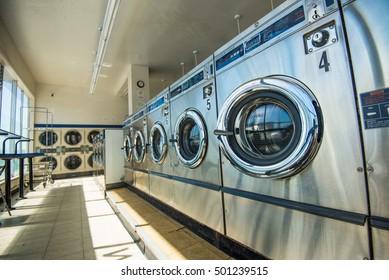 Laundry machines in public laundromat
