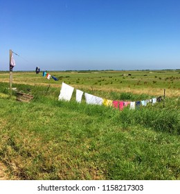 Laundry on countryside