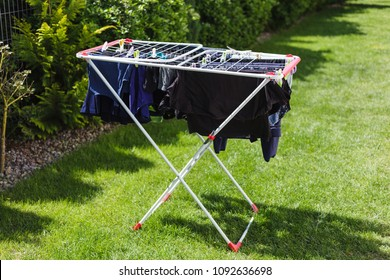 Laundry on the dryer in the garden