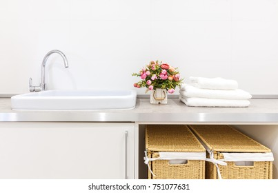 Laundry room with baskets