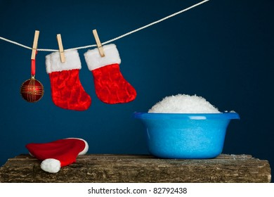 Laundry service. Christmas concept