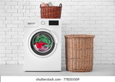 Laundry in washing machine indoors