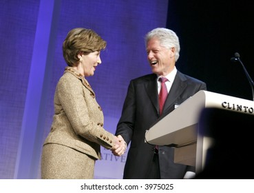Laura Bush and Bill Clinton