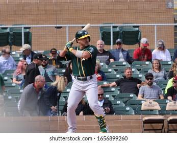 Ramón Laureano center fielder for the Oakland  Athletics at Salt River Fields in Scottsdale,AZ /USA February 23,2020.