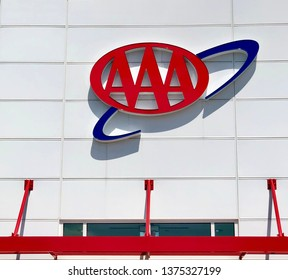 Laurel, Maryland-April 20,2019: AAA Store Front at Laurel Towne Center.