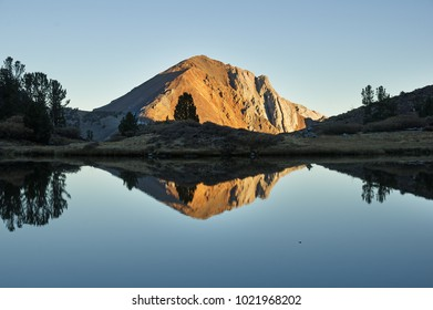 Laurel Mountain reflected in a small Sierra Nevada mountain lake