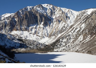 Laurel Mountain in the winter above a frozen Convict Lake
