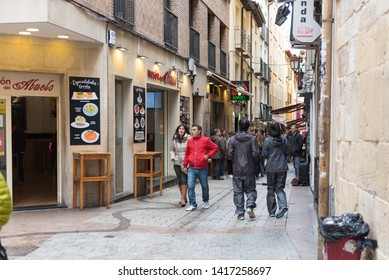 Laurel Street, Logrono, Spain - 03.05.2019. It is one of the streets of the old town of Logrono (La Rioja, Spain), famous for being a typical tapas of the city.