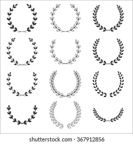 A laurel wreath icon - set symbols of victory and achievement. Vintage design for medals, awards, coat of arms or anniversary logo. Gray silhouette isolated on white background. illustration