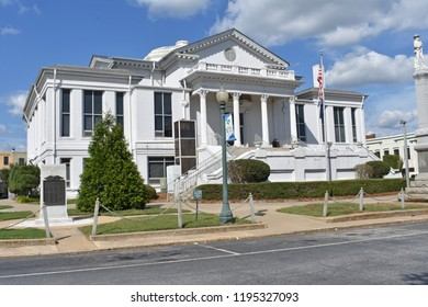 Laurens,SC/USA-October 2 2018: The old Laurens County (SC/USA) Court House on the square in Laurens SC is pictured on October 2 2018.