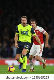 Laurent Depoitre of Huddersfield Town and Sokratis Papastathopoulos of Arsenal - Arsenal v Huddersfield Town, Premier League, Emirates Stadium, London (Holloway) - 8th December 2018