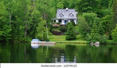 Laurentians Mountains Lake in Quebec , Canada