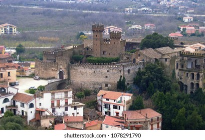 Lauro, Avellino, Campania, Italy - November 17, 2006: the castle seen from the nearby village of Taurano. The old feudal castle, of Lombard origin, is currently home to a historical museum