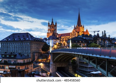 Lausanne Cathedral and city panorama. Lausanne, Vaud, Switzerland.
