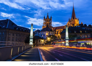 Lausanne Cathedral at night. Lausanne, Vaud, Switzerland.