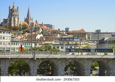 Lausanne Cathedral view over the bridge in summertime