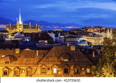 Lausanne panorama with Saint-Francois Church. Lausanne, Vaud, Switzerland.
