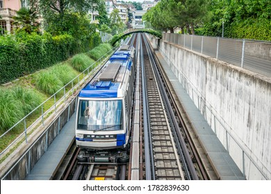 Lausanne Switzerland , 25 June 2020 : Top view of Lausanne Metro train on M2 line an urban rail transport system in Lausanne Vaud Switzerland