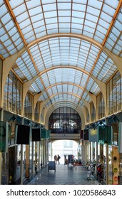 LAUSANNE SWITZERLAND -7TH MAY 2016; Interior of shopping arcade in the centre of Lausanne