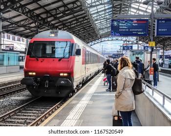 Lausanne, Switzerland - April 13 2018: Train is arriving in Lausanne Gare (Lausanne Station)