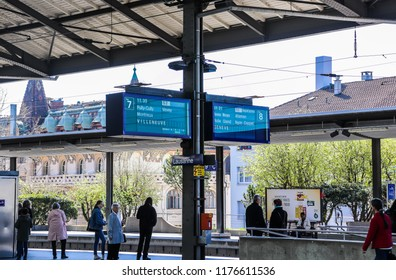 Lausanne, Switzerland - April 13 2018: People are waiting to take a rail in Lausanne Gare (Lausanne Station)