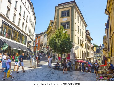 LAUSANNE, SWITZERLAND - AUGUST 23, 2013: View of Lausanne street in summer