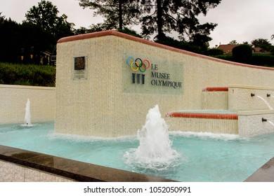 LAUSANNE, SWITZERLAND - AUGUST 8, 2017: Fountain near the Olympic Museum  in Lausanne, Switzerland