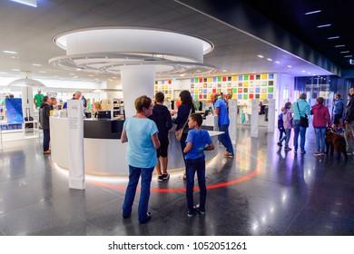 LAUSANNE, SWITZERLAND - AUGUST 8, 2017: Interior of the Olympic Museum  in Lausanne, Switzerland