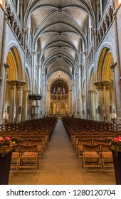 Lausanne, Switzerland, December 2018 - The Cathedral of Notre Dame of Lausanne (Lausanne Cathedral). Interior.