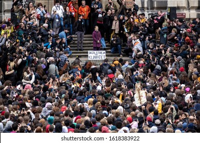 Lausanne, Switzerland - January 17, 2020: Greta Thunberg joins more than 10 thousand school students and activists in a march on an anniversary of Fridays for Future school climate strike.