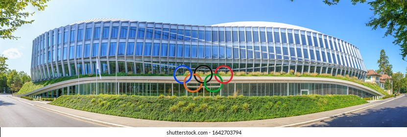 Lausanne, Switzerland - July 13, 2019: New Headquarters International Olympic Committee. Olympic rings