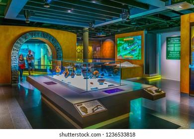 LAUSANNE, SWITZERLAND, JULY 19, 2017: Interior of the International olympic museum in Lausanne, Switzerland
