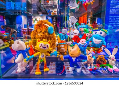LAUSANNE, SWITZERLAND, JULY 19, 2017: Collection of mascots in the International olympic museum in Lausanne, Switzerland