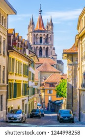 LAUSANNE, SWITZERLAND, JULY 19, 2017:Cathedral of our lady at the end of a narrow street in the old town of Lausanne, Switzerland