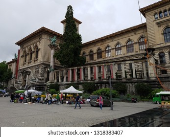 Lausanne, Switzerland - July 2 2017: The Palais de Rumine in Lausanne. The former palace now serves as a museum, university and library. Lausanne, Switzerland