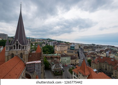 Lausanne, Switzerland - July 21, 2018: Lausanne aerial cityscape from cathedral