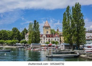 LAUSANNE, SWITZERLAND - JULY 23, 2017: Lausanne city landscape. Ouchy, Lausanne, Vaud, Switzerland.
