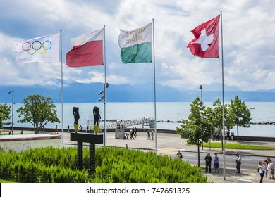 LAUSANNE, SWITZERLAND - JULY 23, 2017: The Olympic Park and Olympic Museum (French: Musee Olympique) on the shore of Lake Leman in Lausanne.
