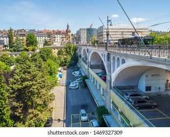 Lausanne, Switzerland - Jun 1st 2019: Avenue Louis-Ruchonnet road in center of Lausanne, Switzerland