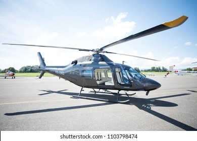 Lausanne, SWITZERLAND - June 02, 2018: Airbus Helicopters AS350 B3e Ecureuils was presented at Lausanne airshow 2018