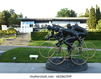 Lausanne, Switzerland -  June 05, 2017: Cyclists, sculpture by Gabor Mihaly, at Olympic Park near  Olympic museum in Lausanne, Switzerlan